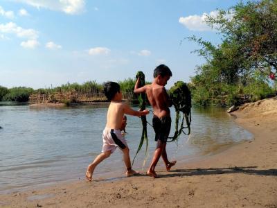 Des enfants s'amusent avec les algues ... on a fait pareil