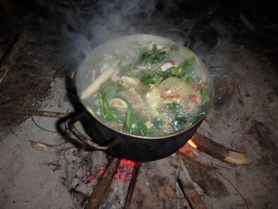 Mijotage de la soupe porc-champignon